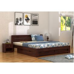 Denzel Bed With Storage (Queen Size, Walnut Finish)