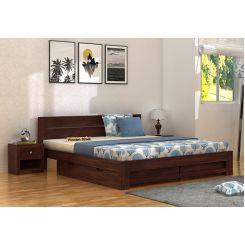 Denzel Bed With Storage (King Size, Walnut Finish)