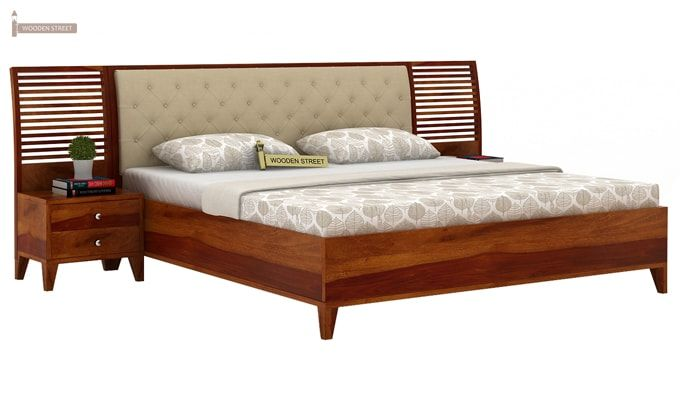 Dorian Bed With Storage (King Size, Honey Finish)-2