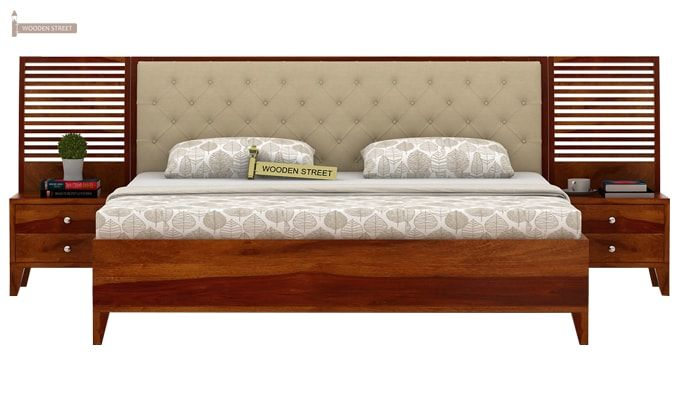 Dorian Bed With Storage (King Size, Honey Finish)-3