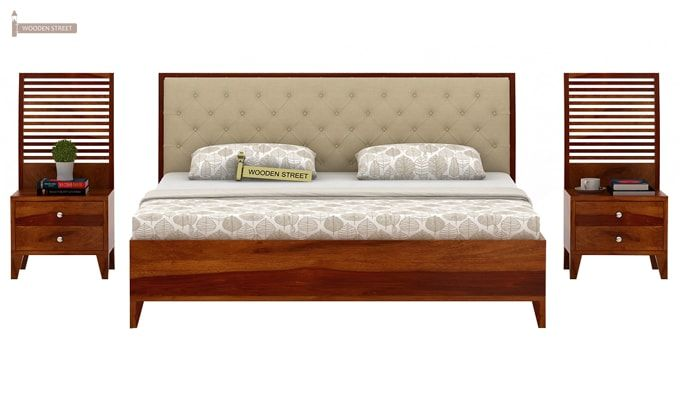 Dorian Bed With Storage (King Size, Honey Finish)-4