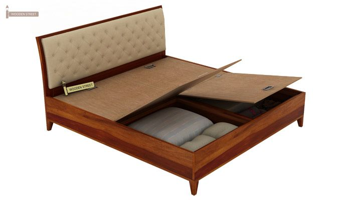 Dorian Bed With Storage (King Size, Honey Finish)-9