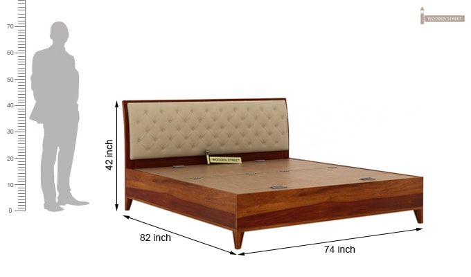 Dorian Bed With Storage (King Size, Honey Finish)-11
