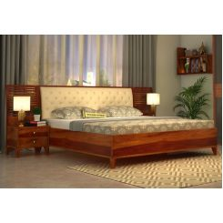 Dorian Bed With Storage (King Size, Honey Finish)