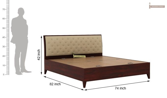 Dorian Bed With Storage (King Size, Mahogany Finish)-11