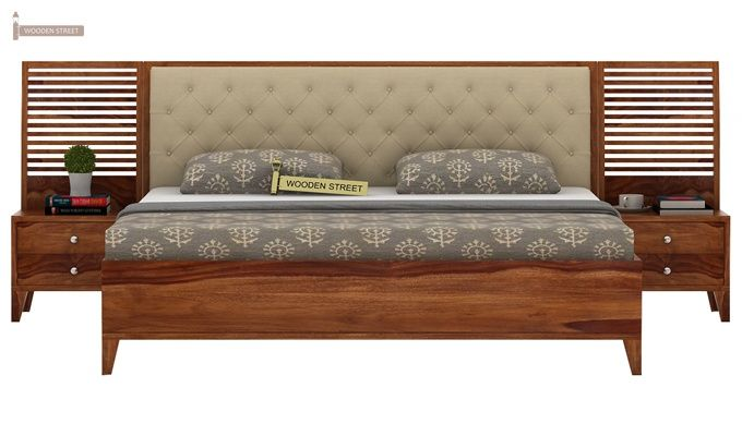 Dorian Bed With Storage (King Size, Teak Finish)-2