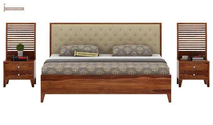 Dorian Bed With Storage (King Size, Teak Finish)-3