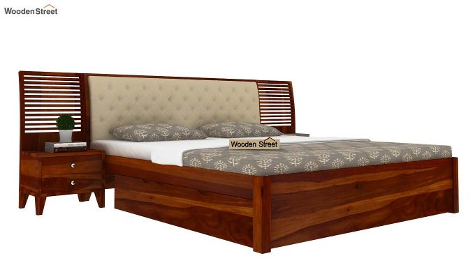 Persia Bed With Side Storage (King Size, Honey Finish)-1