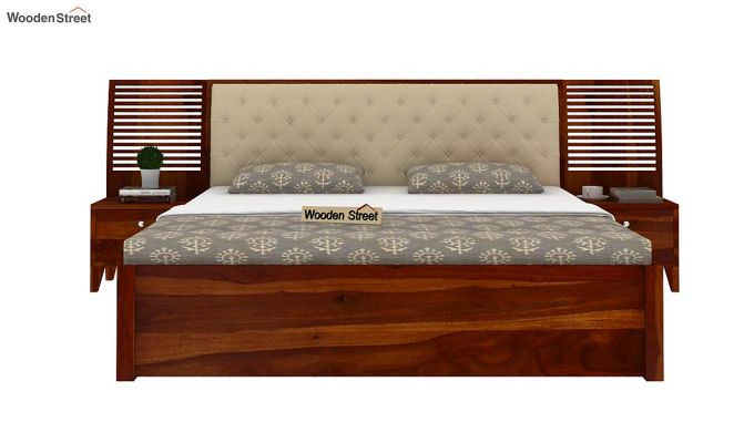 Persia Bed With Side Storage (King Size, Honey Finish)-2