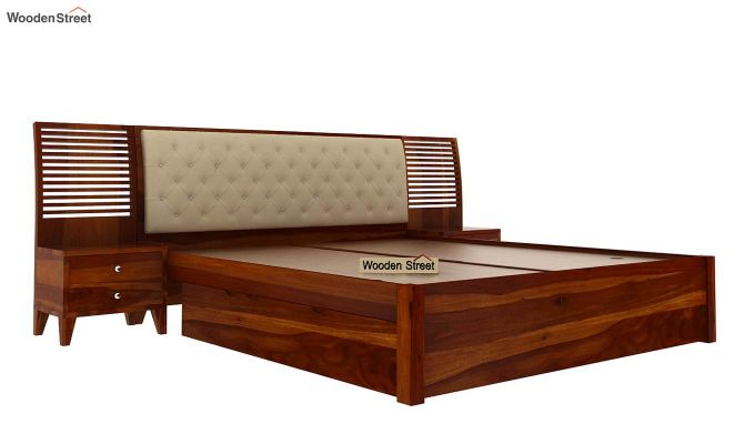 Persia Bed With Side Storage (King Size, Honey Finish)-3