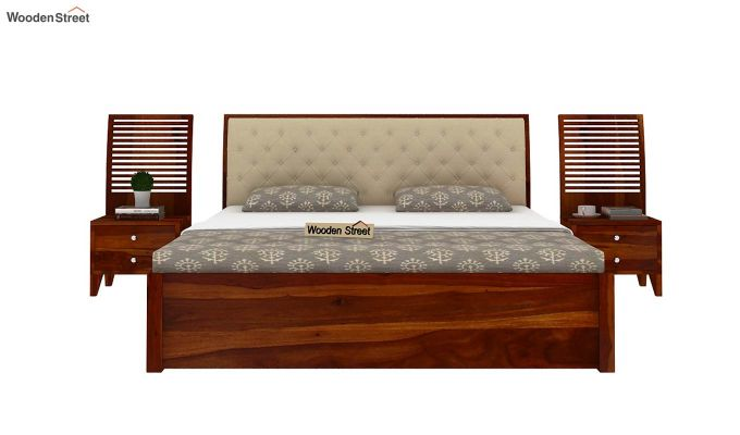 Persia Bed With Side Storage (King Size, Honey Finish)-6