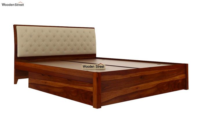 Persia Bed With Side Storage (King Size, Honey Finish)-7