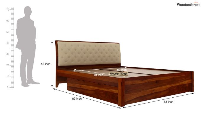 Persia Bed With Side Storage (Queen Size, Honey Finish)-8