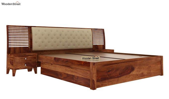 Persia Bed With Side Storage (Queen Size,Teak Finish)-2
