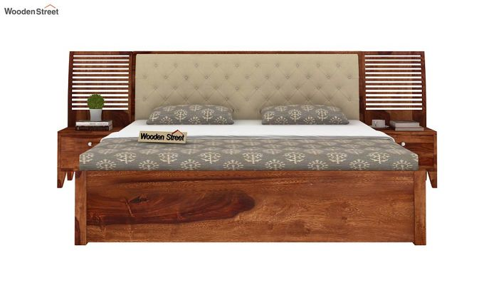 Persia Bed With Side Storage (Queen Size,Teak Finish)-3