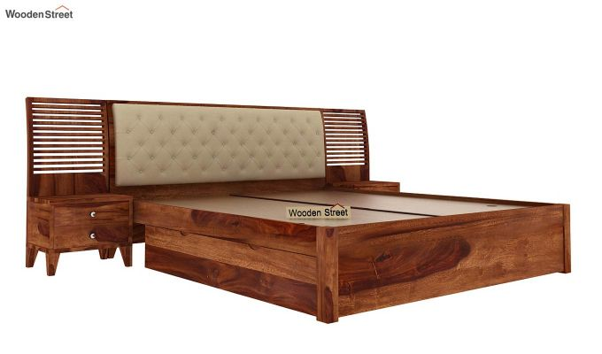 Persia Bed With Side Storage (Queen Size,Teak Finish)-4