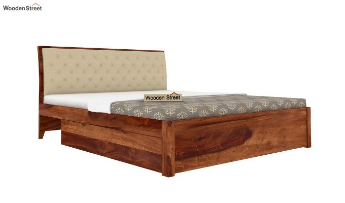 Dorian Bed With Side Storage (King Size,Teak Finish)-5
