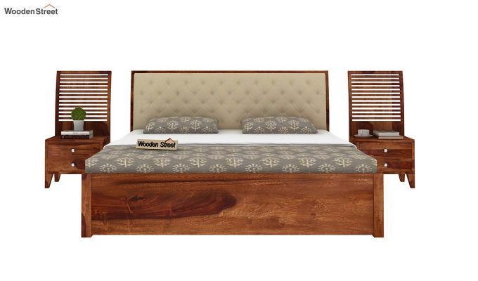 Persia Bed With Side Storage (Queen Size,Teak Finish)-7