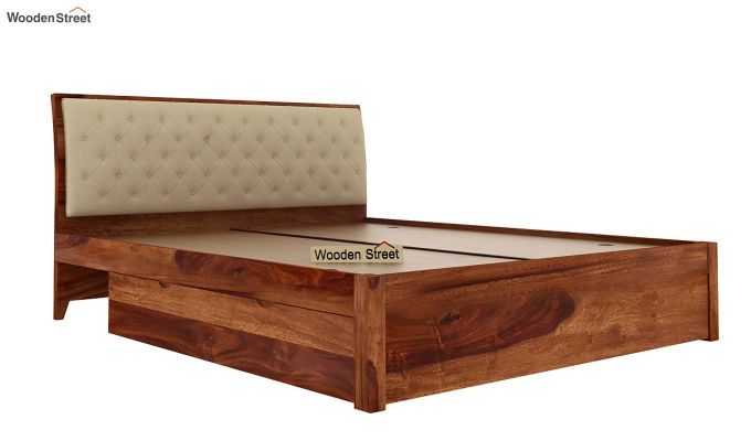 Dorian Bed With Side Storage (King Size,Teak Finish)-8