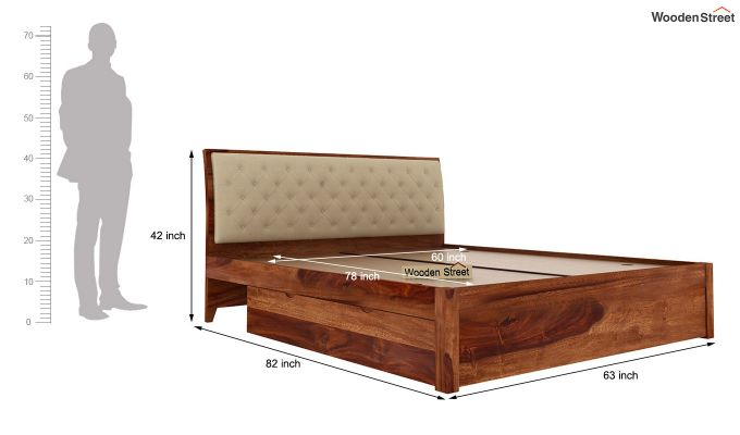 Persia Bed With Side Storage (Queen Size,Teak Finish)-12