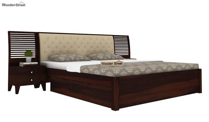 Persia Bed With Side Storage (King Size, Walnut Finish)-1