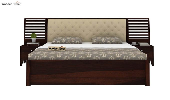 Persia Bed With Side Storage (King Size, Walnut Finish)-2