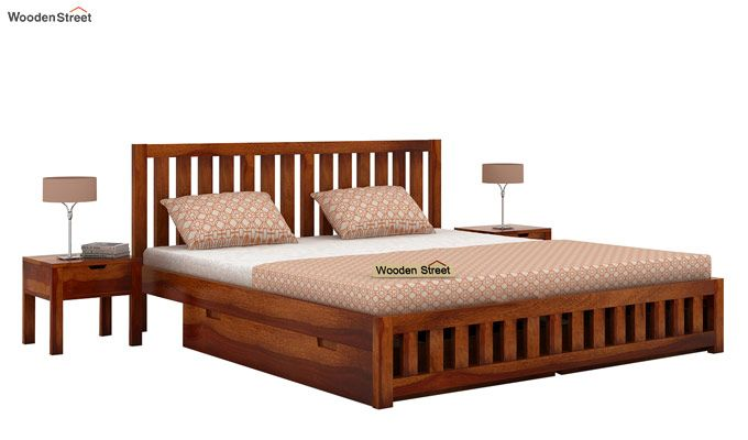 Douglas Bed With Storage (Queen Size, Honey Finish)-1