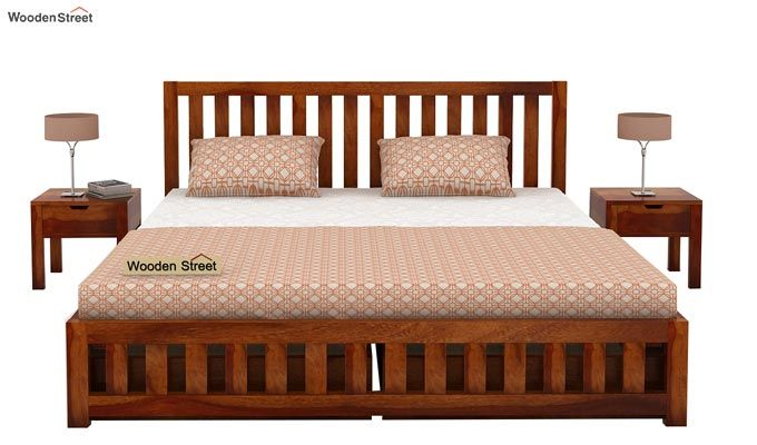 Douglas Bed With Storage (Queen Size, Honey Finish)-2