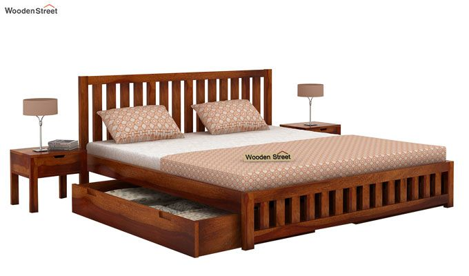 Douglas Bed With Storage (Queen Size, Honey Finish)-3