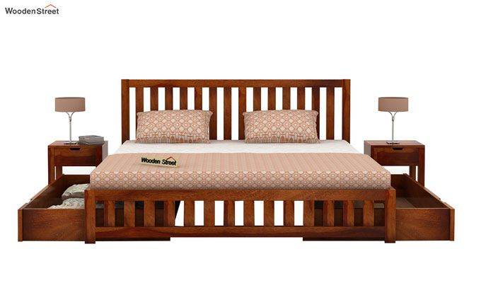 Douglas Bed With Storage (Queen Size, Honey Finish)-4