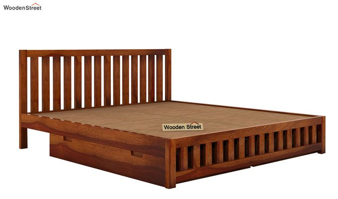 Douglas Bed With Storage (Queen Size, Honey Finish)-5