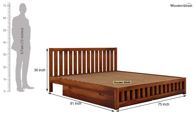 Douglas Bed With Storage (King Size, Honey Finish)-6