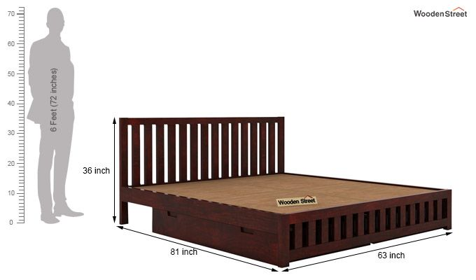 Douglas Bed With Storage (Queen Size, Mahogany Finish)-6