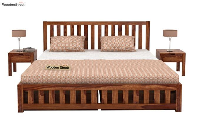 Douglas Bed With Storage (King Size, Teak Finish)-2