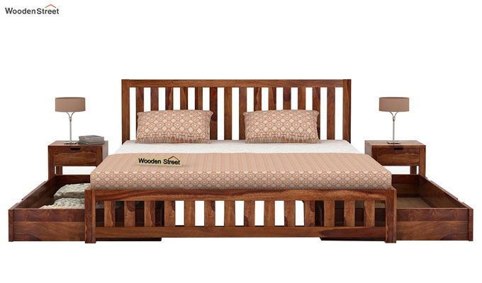 Douglas Bed With Storage (King Size, Teak Finish)-4