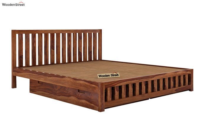 Douglas Bed With Storage (King Size, Teak Finish)-5