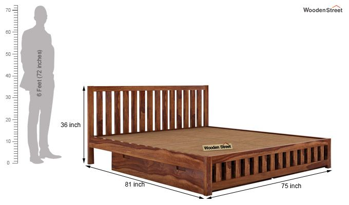 Douglas Bed With Storage (King Size, Teak Finish)-6