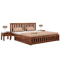 Douglas Bed With Storage (King Size, Teak Finish)