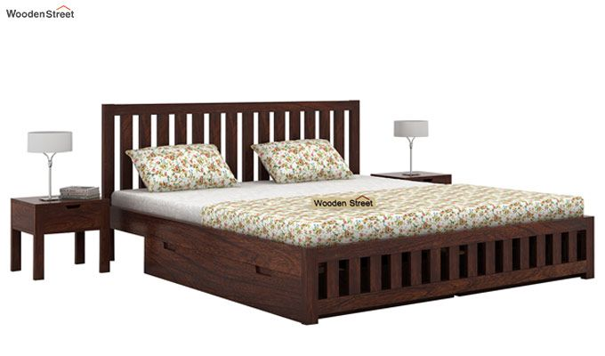 Douglas Bed With Storage (King Size, Walnut Finish)-2