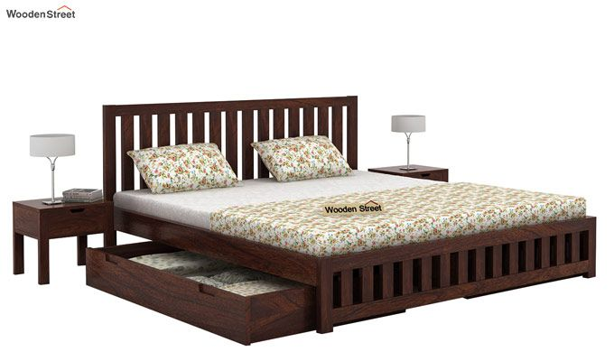Douglas Bed With Storage (Queen Size, Walnut Finish)-3