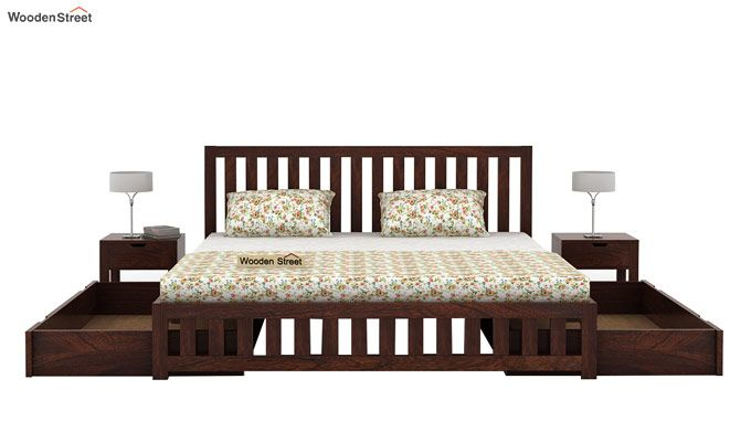 Douglas Bed With Storage (Queen Size, Walnut Finish)-5