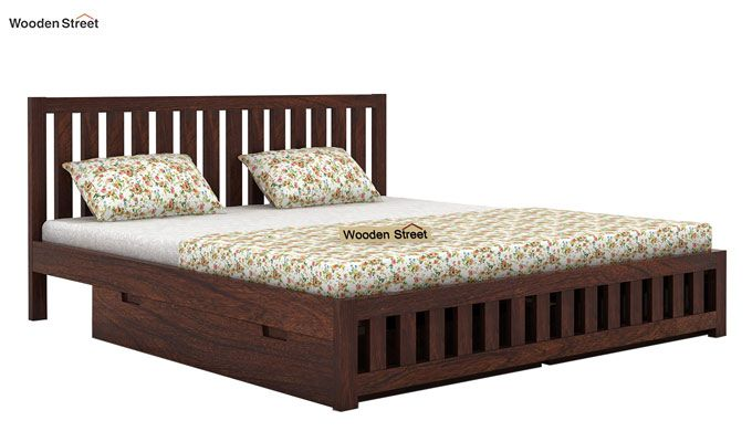 Douglas Bed With Storage (King Size, Walnut Finish)-6