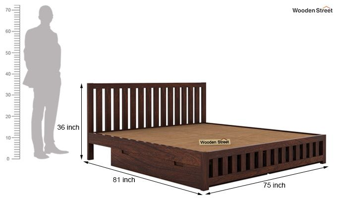 Douglas Bed With Storage (King Size, Walnut Finish)-7