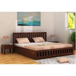 Douglas Bed With Storage (Queen Size, Walnut Finish)