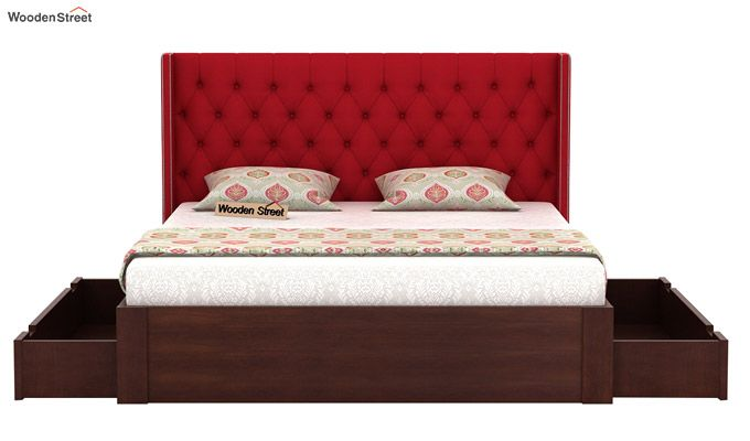 Drewno Upholstered Bed With Storage (King Size, Dusky Rose)-5