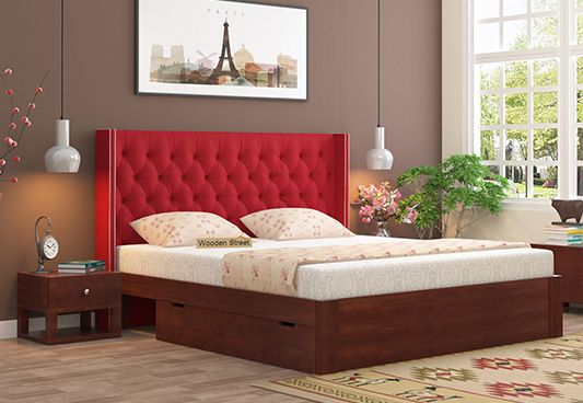 Double Bed with red upholstered headboard and storage box provided beneath in king size