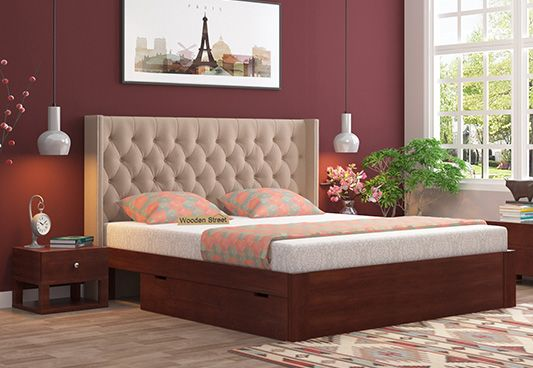 Upholstered Bed With Storage Drawers