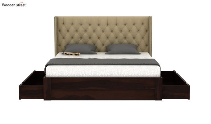 Drewno Upholstered Bed With Storage (Queen Size, Irish Cream)-5