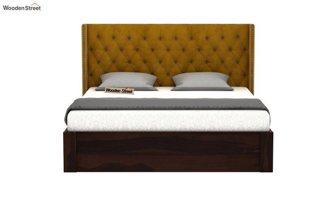 Drewno Upholstered Bed With Storage (Queen Size, Chestnut Brown)-3