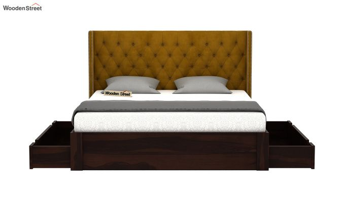 Drewno Upholstered Bed With Storage (Queen Size, Chestnut Brown)-4